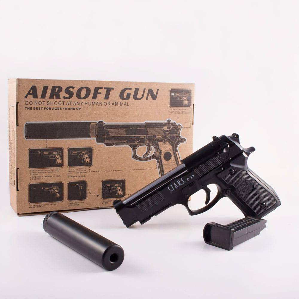 کلت ساچمه ای فلزی خفه کن دار AIRSOFT GUN  مدل (+C18)